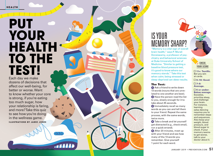 Jamie Jones Prevention Magazine Health Quiz opening illustration
